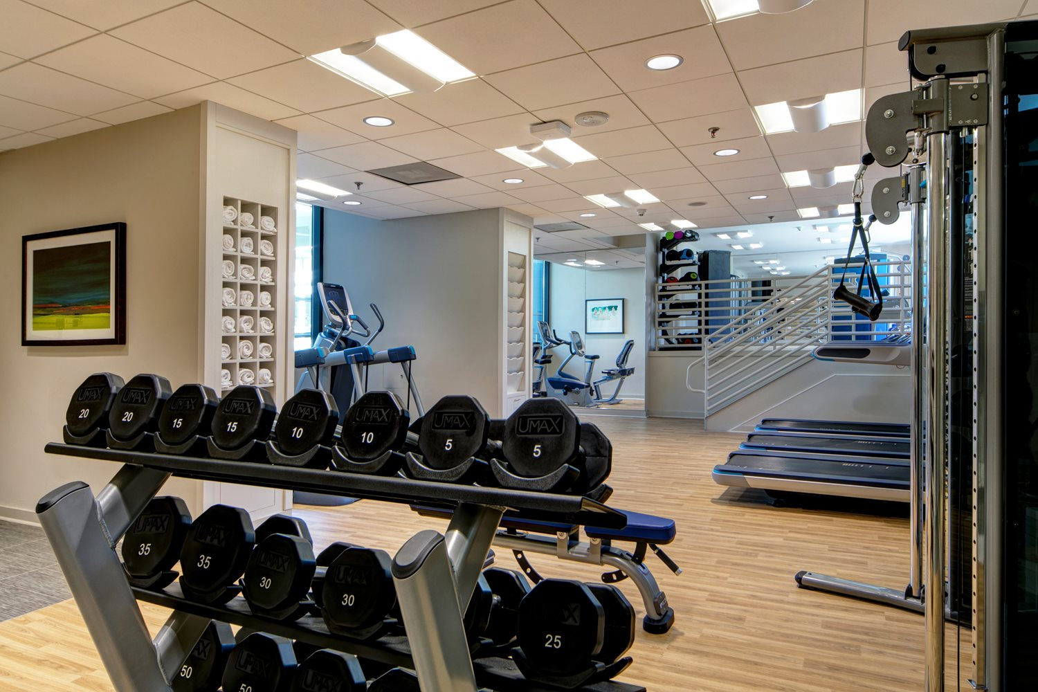 Hotel gym with weight rack, treadmills, and exercise machines