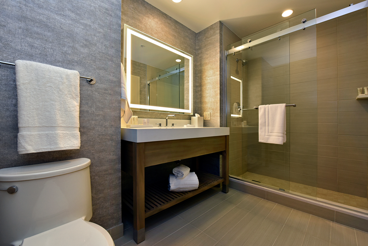 Guestroom Bathroom with glass-enclosed shower and lighted vanity.